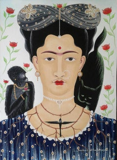 """Frida Kahlo, Watercolour & Gouache on Paper by Contemporary Artist """"In Stock"""""""
