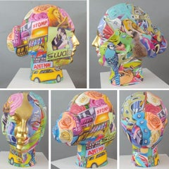 """Head, Paint on Fiber by Contemporary Indian Artist """"In Stock"""""""
