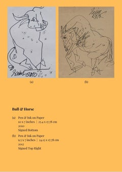 """Bull & Horse, Pen & Ink on Paper (Set of 2) by Modern Indian Artist """"In Stock"""""""