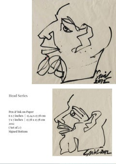 """Head Series, Pen & Ink on Paper (Set of 2) by Modern Indian Artist """"In Stock"""""""