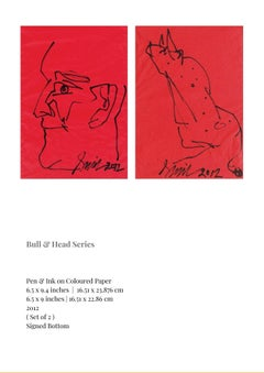 Bull & Head Series Pen & Ink on Paper Set of 2 by Modern Indian Artist-In Stock