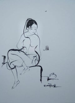 """Indian Woman, Ink & Wash on Paper, Black and White Sketch """"In Stock"""""""