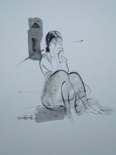 """Indian Woman Ink & Wash,Black & White on Paper by Contemporary Artist """"In Stock"""""""