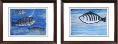 """Fish under the Water, Watercolor on paper, Blue by Indian Artist """"In Stock"""""""