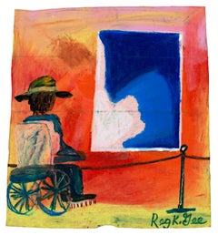 """Art Critic with 2.3 Billion Dollar Painting,"" oil pastel by Reginald K. Gee"