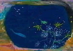 """""""Ocean Window,"""" Oil Pastel on Grocery Bag signed by Reginald K. Gee"""