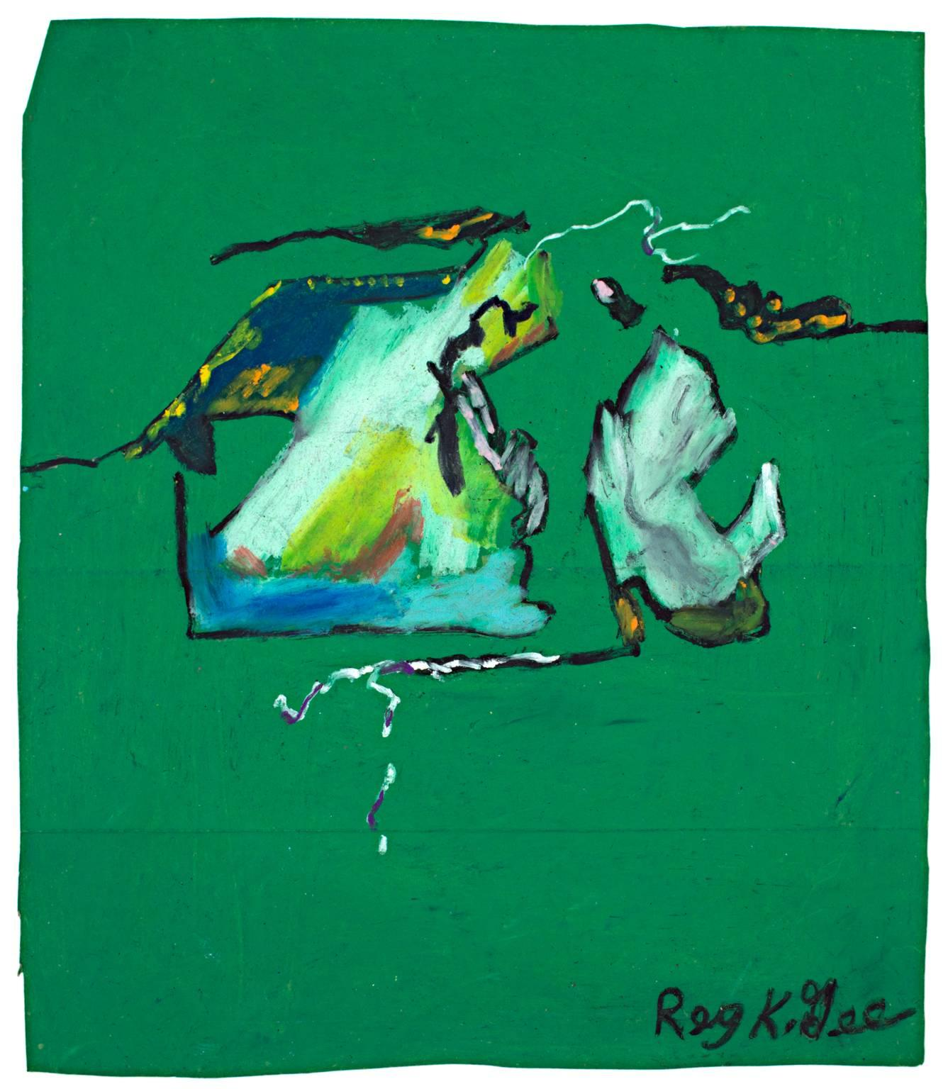 """""""Turn of the Century Abstract,"""" Pastel on Grocery Bag signed by Reginald K. Gee"""