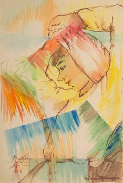 """""""Dreaming of Paradise Island,"""" Watercolor and Pastel signed by Sylvia Spicuzza"""