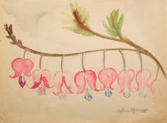 """Bleeding Hearts,"" Original Botanical Watercolor signed by Sylvia Spicuzza"