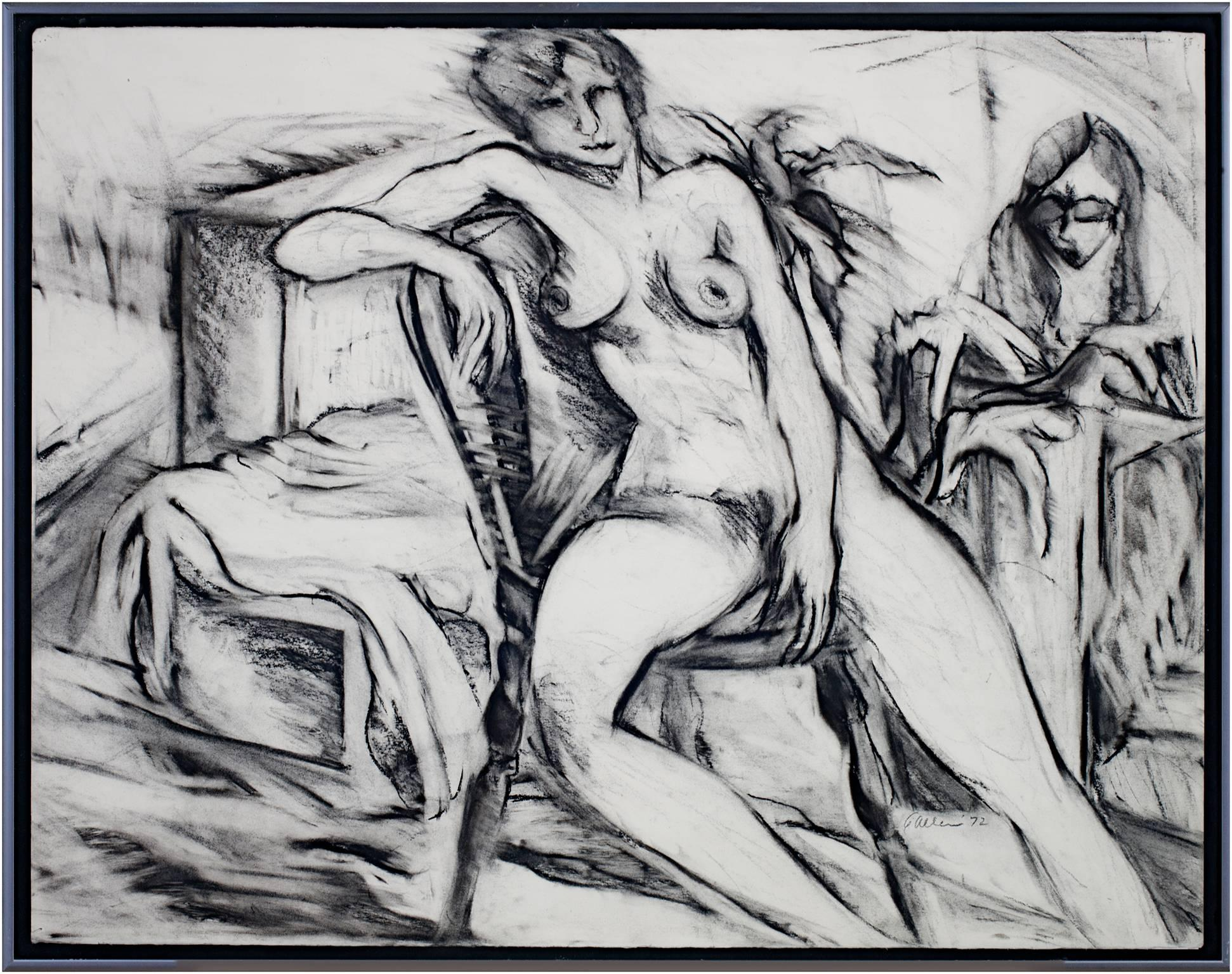 """""""Nude,"""" Black & White Charcoal Figure Drawing Portrait signed by Estherly Allen"""