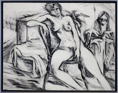 """Nude,"" Black & White Charcoal Figure Drawing Portrait signed by Estherly Allen"