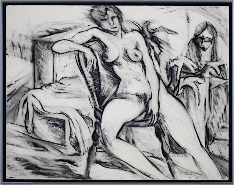 """""""Nude"""" is a charcoal figure drawing by Estherly Allen. The artist signed the piece. It depicts a nude woman lounging on a chair while another person also looks on.   20 5/8"""" x 26"""" art 21 3/4"""" x 27 3/8"""" frame  Wisconsin Artist, currently living in"""
