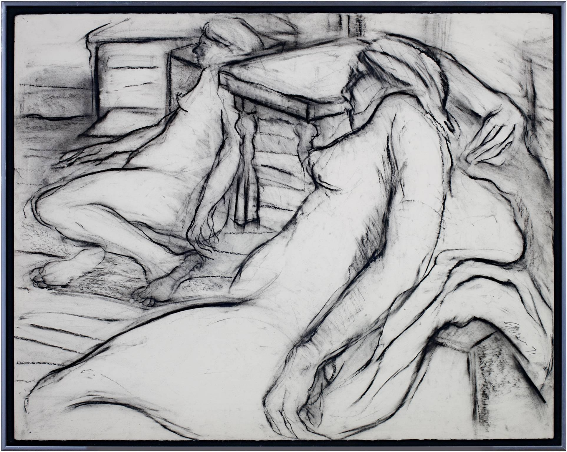 """""""Two Nudes,"""" Black & White Charcoal Figurative Drawing signed by Estherly Allen"""