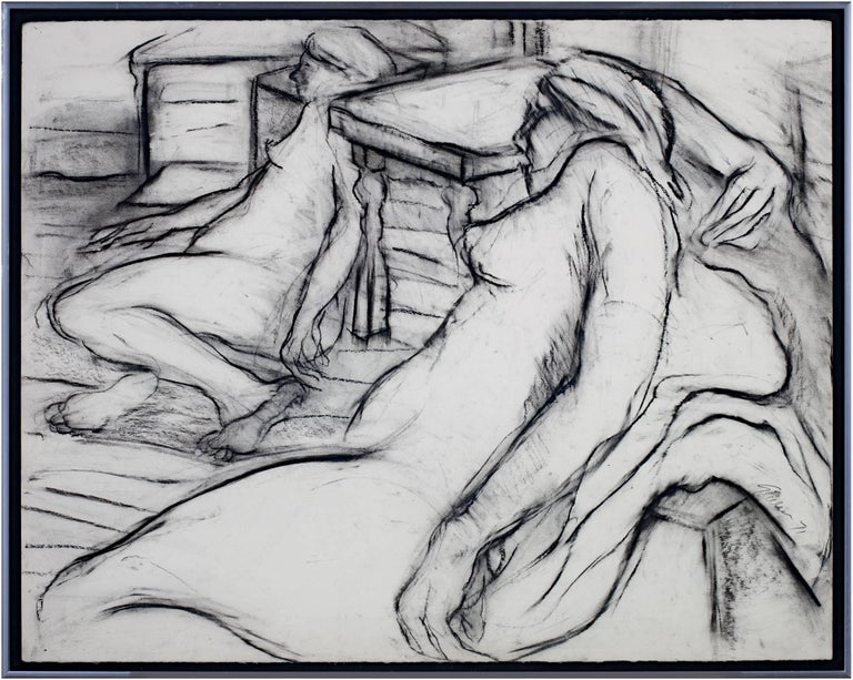 """""""Two Nudes"""" is a charcoal figure drawing by Estherly Allen. The artist signed the piece. It depicts a two nude women lounging on cushions in an observational drawing class.   20 1/2"""" x 26"""" art 21 3/4"""" x 27 3/8"""" frame  Wisconsin Artist, currently"""