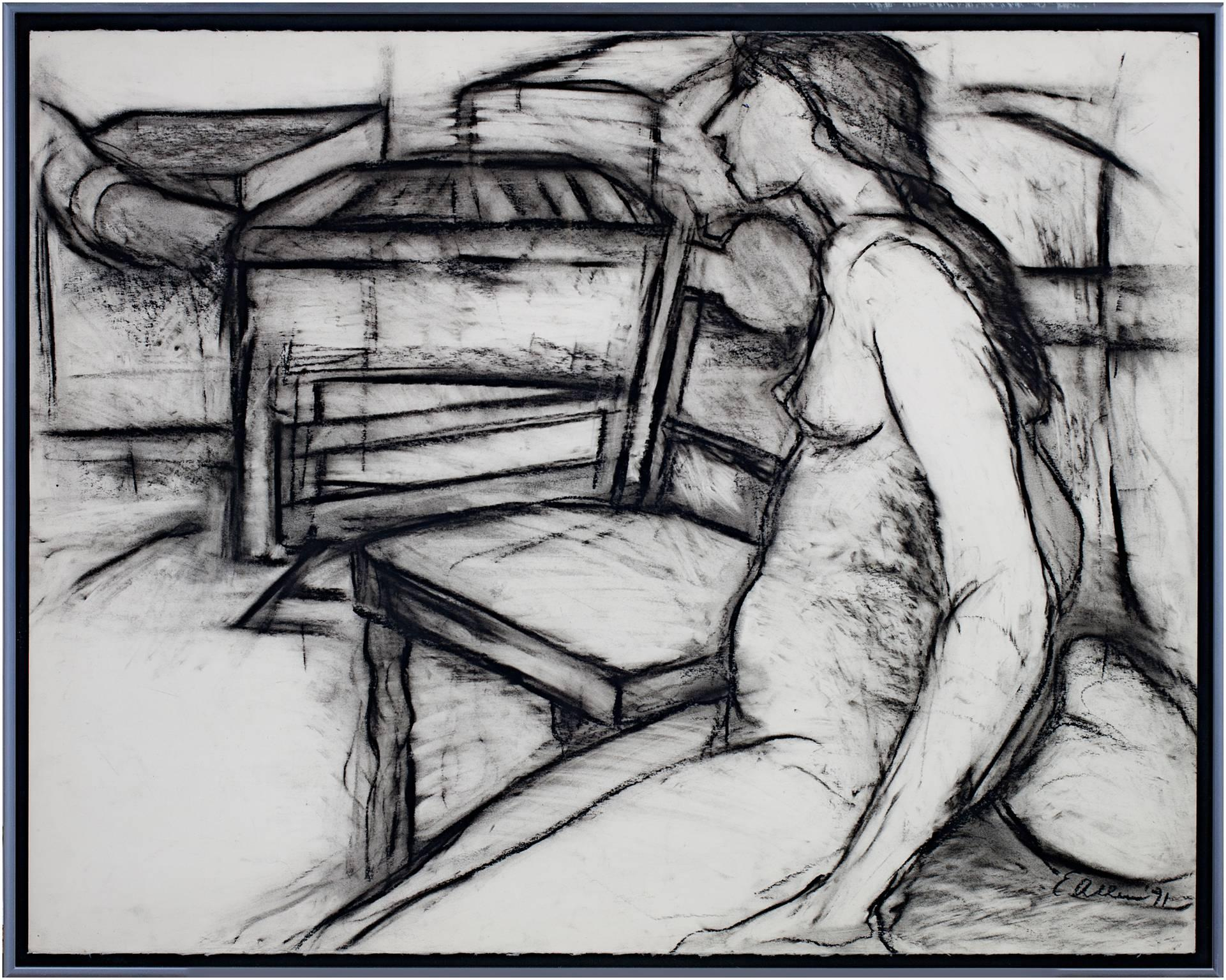 """""""Nude, Next to Chair,"""" Original Charcoal Ddrawing signed by Estherly Allen"""