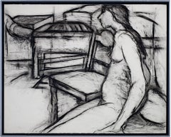 """Nude, Next to Chair,"" Original Charcoal Ddrawing signed by Estherly Allen"