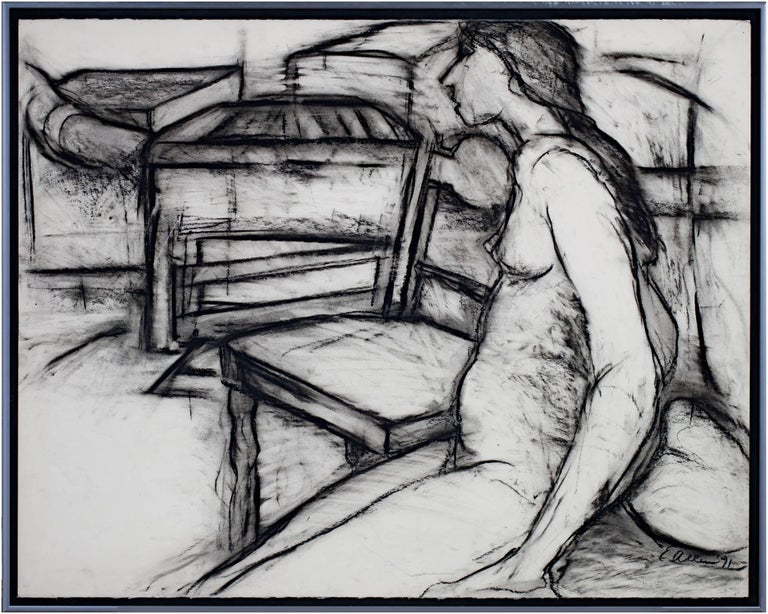 """""""Nude, Next to Chair"""" is a charcoal figure drawing by Estherly Allen. The artist signed the piece. It depicts a nude woman lounging on a cushion next to a chair.   20 5/8"""" x 26"""" art 21 3/4"""" x 27 3/8"""" frame  Wisconsin Artist, currently living in"""