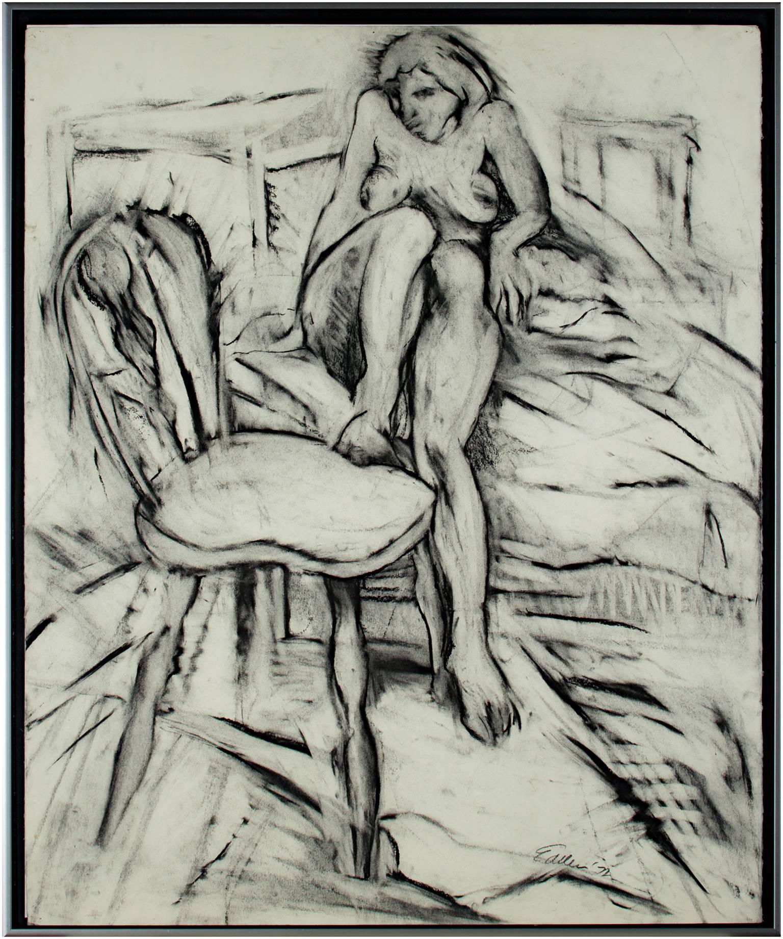 """""""Nude, with Foot on Chair,"""" Original Charcoal Drawing signed by Estherly Allen"""