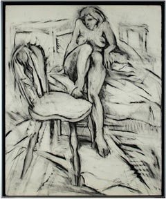 """Nude, with Foot on Chair,"" Original Charcoal Drawing signed by Estherly Allen"