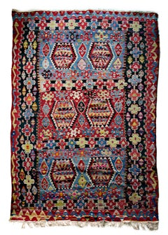 """Kilim Rug (Red & Black),"" Hand Woven Wool created Mid 20th Century"