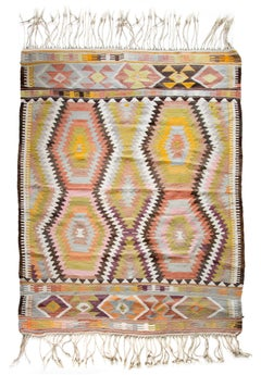"""Kilim Rug (Pink, Yellow, & Brown)"" Hand-woven Wool Rug created Mid 20th Century"