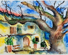 """House in Germany,"" Original Multicolored Watercolor signed by Olga Ulmann"