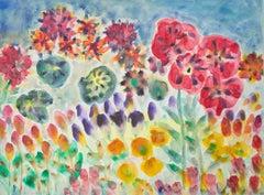 """Tulips, Hybrid Hibiscus, Crane's Bill and Peonies,"" watercolor by David Barnett"