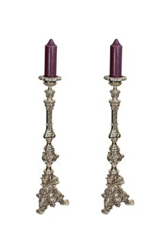 """Candlesticks, silver-plated bronze,"" Two Candlesticks"