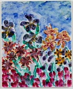 """Garden Gala Celebration,"" Original Watercolor Flowers signed by David Barnett"