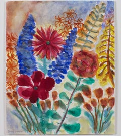 """""""First Day of Spring,"""" Original Watercolor with Flowers signed by David Barnett"""