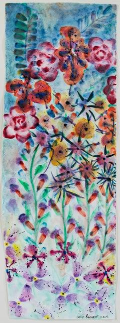 """Iridescent Spontaneous Automatic Fireworks,"" watercolor by David Barnett"