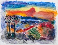 """""""Spring Green Variation III,"""" mixed media watercolor by David Barnett"""