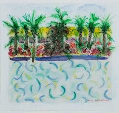 """""""Homage to David Hockney: Pool Variation #3,"""" Mixed Media by David Barnett"""