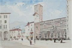 """Italian Piazza,"" Watercolor Summer City View attributed to Gabrielli Carelli"