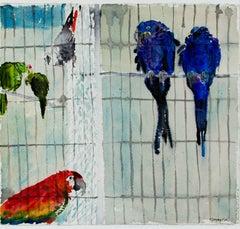 """Parrots,"" Original Watercolor signed by Alicia Czechowski"