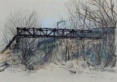 """Run-off Pipe, Million Dollar Bridge"" Pastel, Pencil signed by Alicia Czechowski"