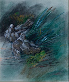 """""""White Doves, After Boucher,"""" Original Pastel signed by Alicia Czechowski"""
