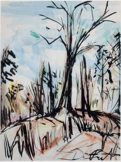 """Trees,"" Watercolor Painting of a Winter Scene signed by David Barnett"