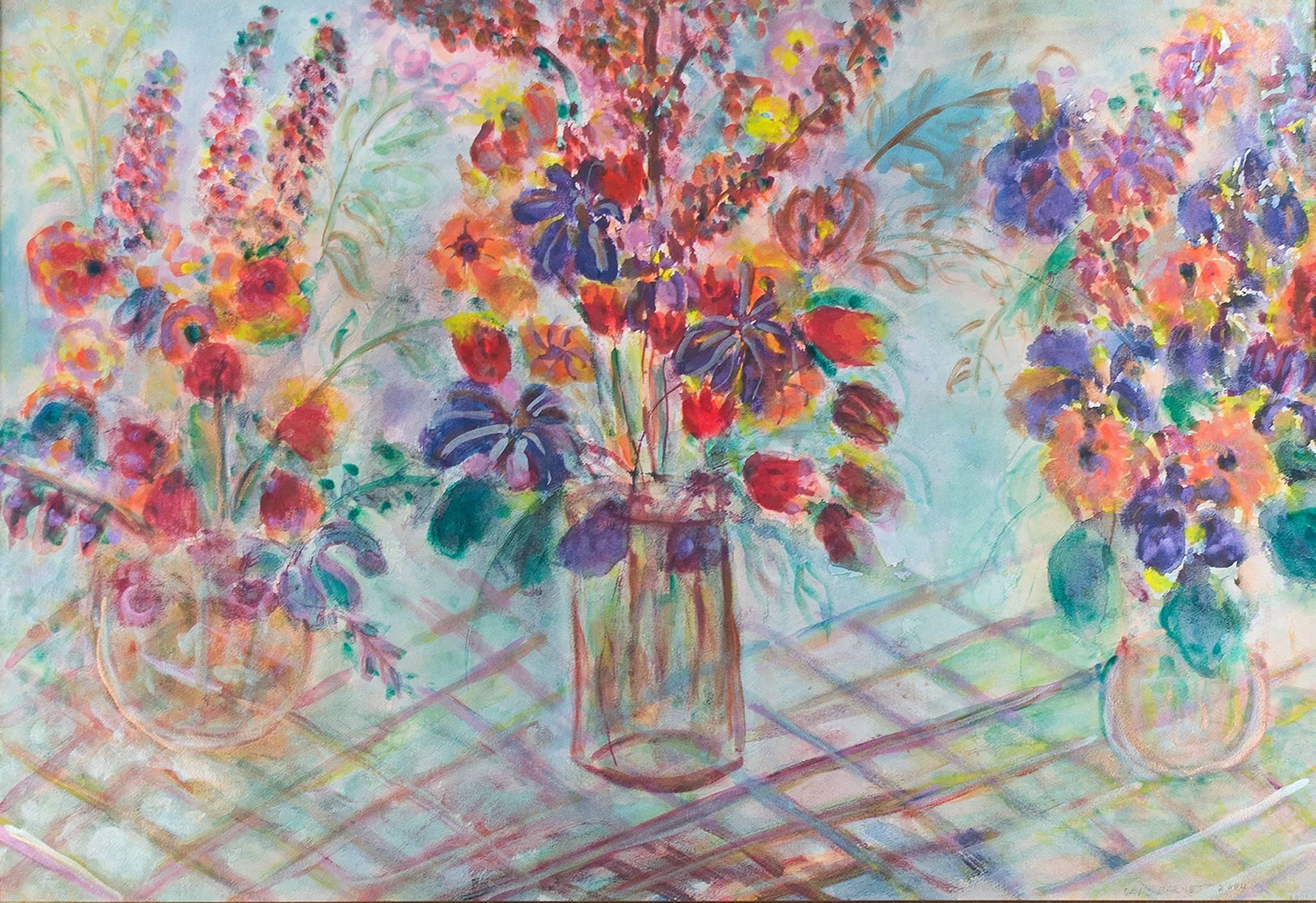 """Triple Birthday Bouquet-Revisited"" Original Mixed Media signed by David Barnett"