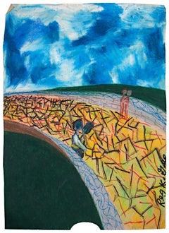 """""""Destiny Bridge,"""" Oil Pastel on Grocery Bag signed by Reginald K. Gee"""