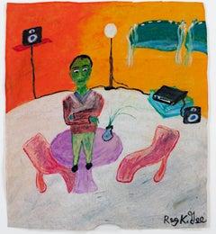 """""""Floor Phobic,"""" oil pastel on grocery bag by Reginald K. Gee"""