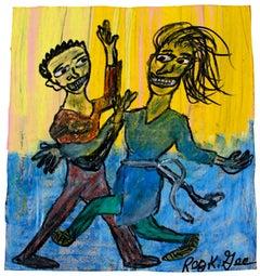 """""""Dance Studio,"""" Oil Pastel on Grocery Bag signed by Reginald K. Gee"""