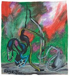 """Contrast Form,"" Oil Pastel on Grocery Bag signed by Reginald K. Gee"