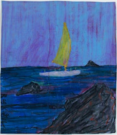 """Arriving to Island,"" Oil Pastel on Grocery Bag signed by Reginald K. Gee"