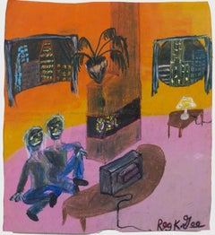 """""""Apartment B-10 (Couple Sitting on Floor Watching TV),"""" by Reginald K. Gee"""