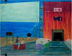 """Coaster Condo,"" Oil Pastel on Ragboard Marina View signed by Reginald K. Gee"