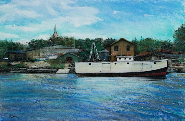 """""""Algoma Harbor"""" is an original pastel drawing by Michael DeFrancesco. It depicts a large boat docked at a small harbor. The artist signed the piece lower left.   17"""" x 25 1/2"""" art 27 5/8"""" x 36"""" frame  """"As I progress in my painting, I hope to say"""