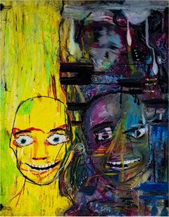 """Get Off the Avenue,"" Double Portrait Oil Pastel signed by Reginald K. Gee"
