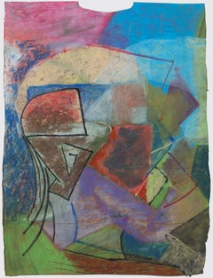 """""""Baf,"""" Abstract Geometric Oil Pastel on Grocery Bag signed by Reginald K. Gee"""