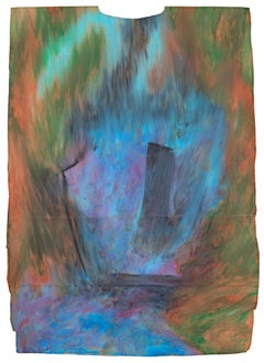 """""""Axtion,"""" Abstract Oil Pastel on Grocery Bag signed by Reginald K. Gee"""
